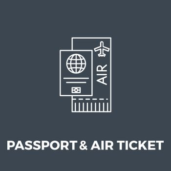Passport and Ticket icon vector. Flat icon isolated on the black background. Editable EPS file. Vector illustration.