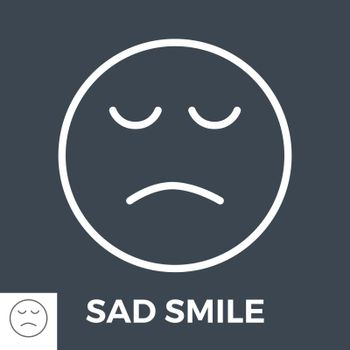 Sad Smile Thin Line Vector Icon Isolated on the Black Background.