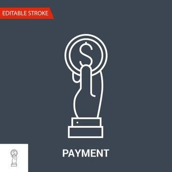 Payment Icon. Thin Line Vector Illustration - Adjust stroke weight - Expand to any Size - Easy Change Colour - Editable Stroke