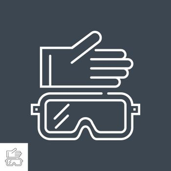Protective cloth related vector thin line icon. Glove and safety glasses. Isolated on black background. Editable stroke. Vector illustration.