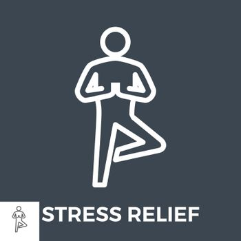 Stress Relief Thin Line Vector Icon Isolated on the Black Background.