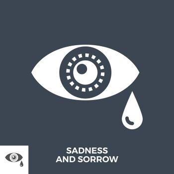 Sadness and Sorrow Glyph Vector Icon Isolated on the Black Background.