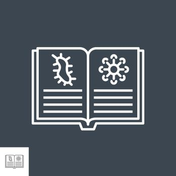Knowledge of virology related vector thin line icon. Open book with virus information. Isolated on black background. Editable stroke. Vector illustration.