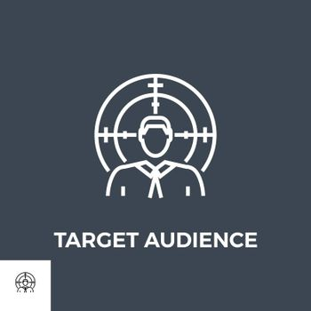 Target Audience Related Vector Thin Line Icon. Isolated on Black Background. Vector Illustration.