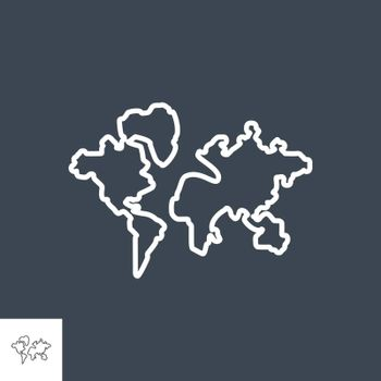 World map related vector thin line icon. Isolated on Black background. Editable stroke. Vector illustration.
