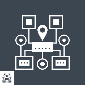 Sitemap Navigation Related Vector Glyph Icon. Isolated on Black Background. Vector Illustration.