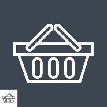 Shopping Basket Thin Line Vector Icon. Flat icon isolated on the black background. Editable EPS file. Vector illustration.