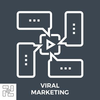 Viral Marketing Thin Line Vector Icon Isolated on the Black Background.