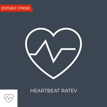 Heartbeat Ratev Thin Line Vector Icon. Flat Icon Isolated on the Black Background. Editable Stroke EPS file. Vector illustration.