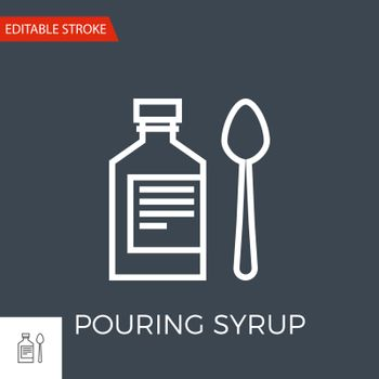 Pouring Syrup Thin Line Vector Icon. Flat Icon Isolated on the Black Background. Editable Stroke EPS file. Vector illustration.