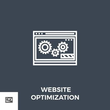 Website Optimization Related Vector Thin Line Icon. Isolated on Black Background. Vector Illustration.