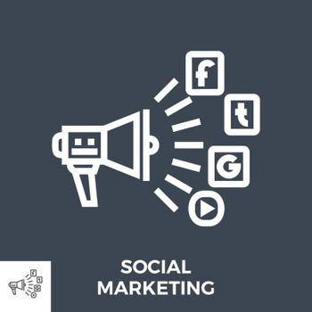 Social Marketing Thin Line Vector Icon Isolated on the Black Background.