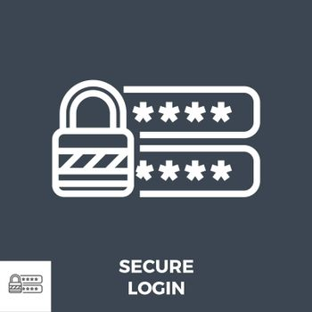 Secure Login Thin Line Vector Icon Isolated on the Black Background.