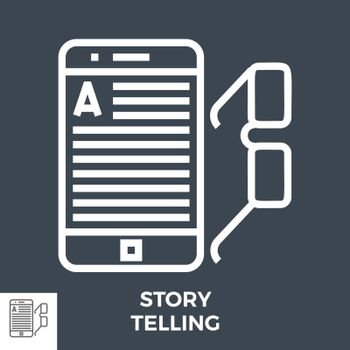 Story Telling Thin Line Vector Icon Isolated on the Black Background.