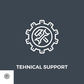 Technical support icon vector. Flat icon isolated on the black background. Editable EPS file. Vector illustration.