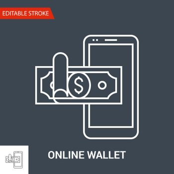 Online Wallet Icon. Thin Line Vector Illustration - Adjust stroke weight - Expand to any Size - Easy Change Colour - Editable Stroke