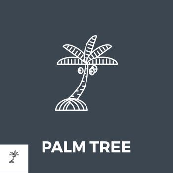 Palm Tree Icon Vector. Isolated on Black Background. Vector Illustration.