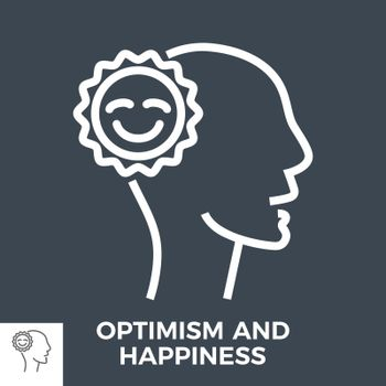 Optimism and Happiness Thin Line Vector Icon Isolated on the Black Background.
