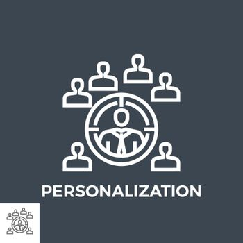 Personalization Thin Line Vector Icon Isolated on the Black Background.