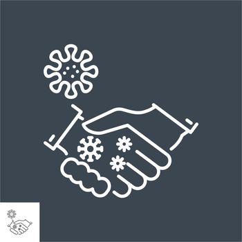 Handshake virus transmission related vector thin line icon. Handshake and viruses on one hand. Isolated on black background. Editable stroke. Vector illustration.