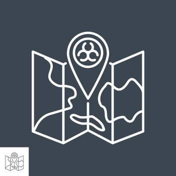 Epidemic related vector thin line icon. Biohazard positioning mark on map. Isolated on black background. Editable stroke. Vector illustration.