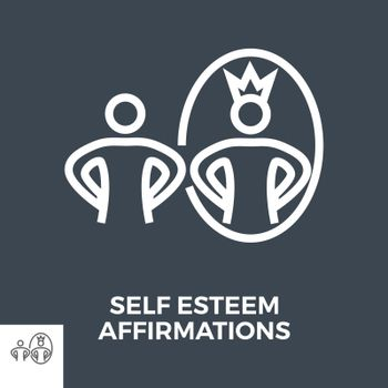 Self Esteem Affirmations Thin Line Vector Icon Isolated on the Black Background.