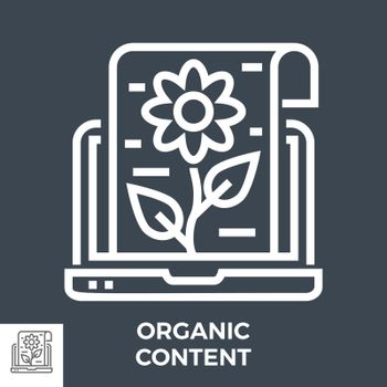 Organic Content Thin Line Vector Icon Isolated on the Black Background.