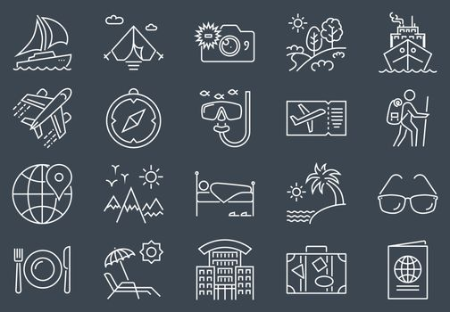 Travel Icon Set. Travel Related Vector Line Icon Set. Isolated on Black Background. Editable Stroke.