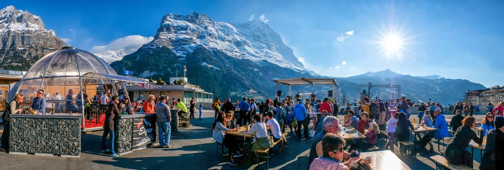 Grindelwald Switzerland - 29 March 2017: concert of English rock band in hight mountain oldtown at 29 march 2017  Grindelwald Music Festival, Switzerland