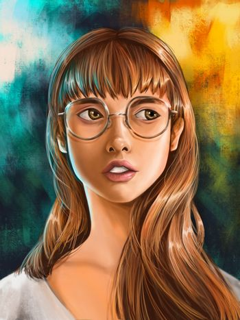 Close up Digital painting portrait of young woman wearing glasses