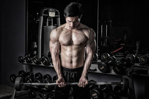 Strong fitness man doing arm workout with barbells in the gym
