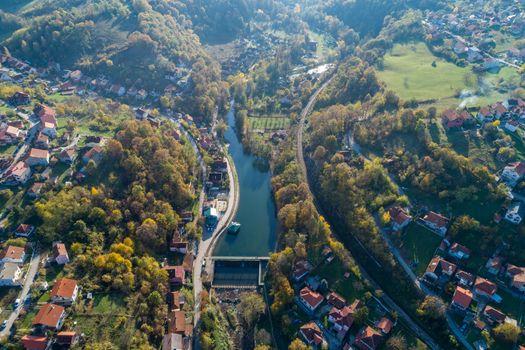 Dan on river Gradac in Valjevo - panorama of city in Serbia. Aer