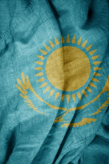 The state flag of coarse fabric Kazakhstan