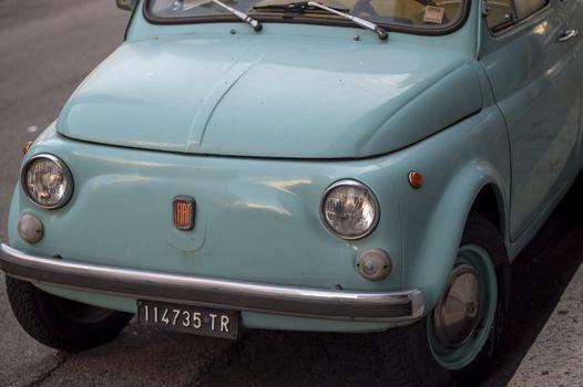 terni,italy november 11 2020:detail of a light blue fiat 500 fiat