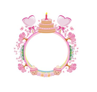 Cute happy birthday card, girlish frame with muffins