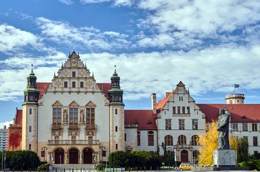 Monument and historic neo-Romanesque sandstone buildings