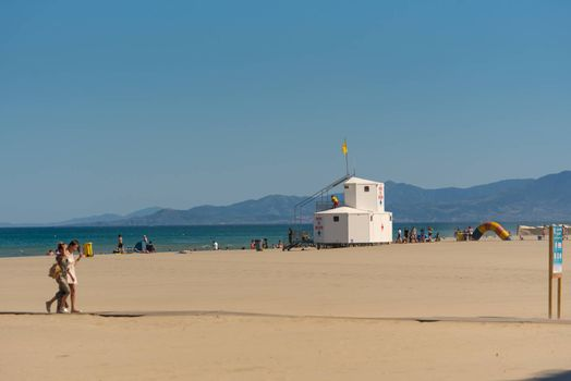 Canet en Roussillon, France: June 21, 2020: Sunny day in the tourist town of Canet en Roussillion in France on the Mediterranean Sea.