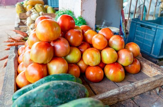 Neat group of red tomatoes and cucumbers at a stall
