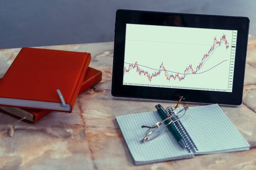 A tablet screen on a desk displaying a currency pairs chart. There are a notebooks, a pen and a glasses too.