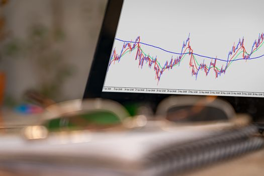 A tablet screen part on a desk displaying a currency pairs chart. There are out of focus notebook and a glasses on the desk too.
