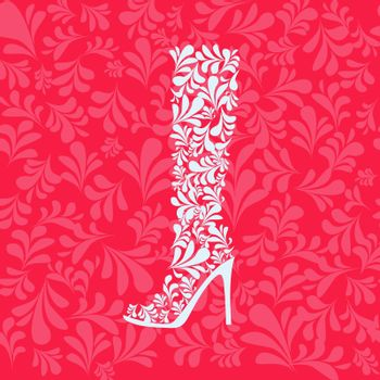 Vector flat illustration Decorative Ornate Women's boot with swirl ornate. Fashion model design element for the shoe store, promotions, flyers.