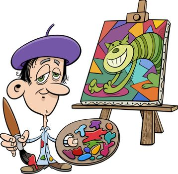 Cartoon illustration of painter artist with his painting