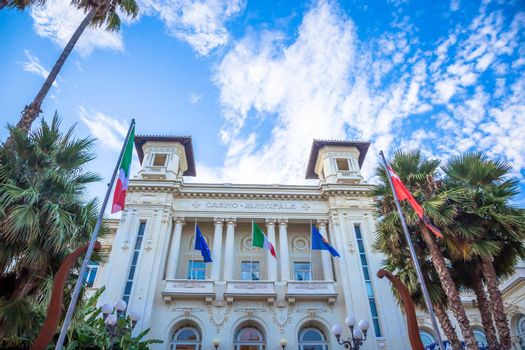 SANREMO, ITALY - CIRCA AUGUST 2020: view of the Sanremo Casino, one of the main landmarks of the city and Liguria Region