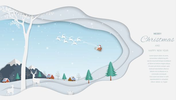 Merry Christmas and Happy new year greeting card,reindeer with Santa Claus on winter background,vector illustration