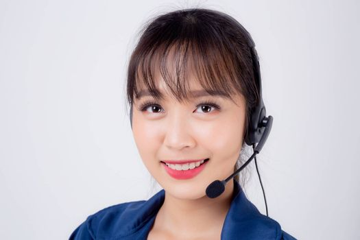 Beautiful portrait young asian business woman customer service job call center in headset isolated on white background, girl speaking assistant in hotline support phone operator, communication concept.
