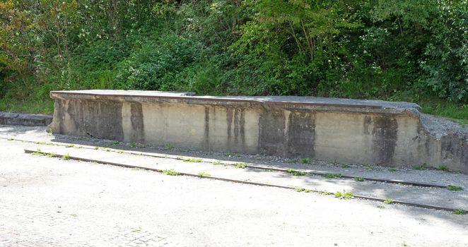 Dachau, Germany - July 13, 2020: Railroad at the entrance of Dac