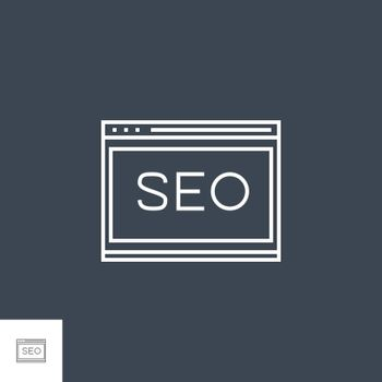 Website Optimization Related Vector Thin Line Icon. Isolated on Black Background. Editable Stroke. Vector Illustration.