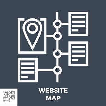 Website Map Thin Line Vector Icon Isolated on the Black Background.