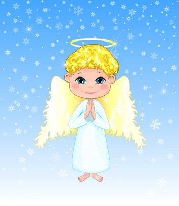 Little angel on a winter background. Angel boy with curls, with wings and a halo.