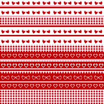 Seamless background with hearts and tablecloth